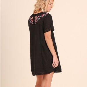 Umgee Black Embroidered Cotton Tunic Dress S M L